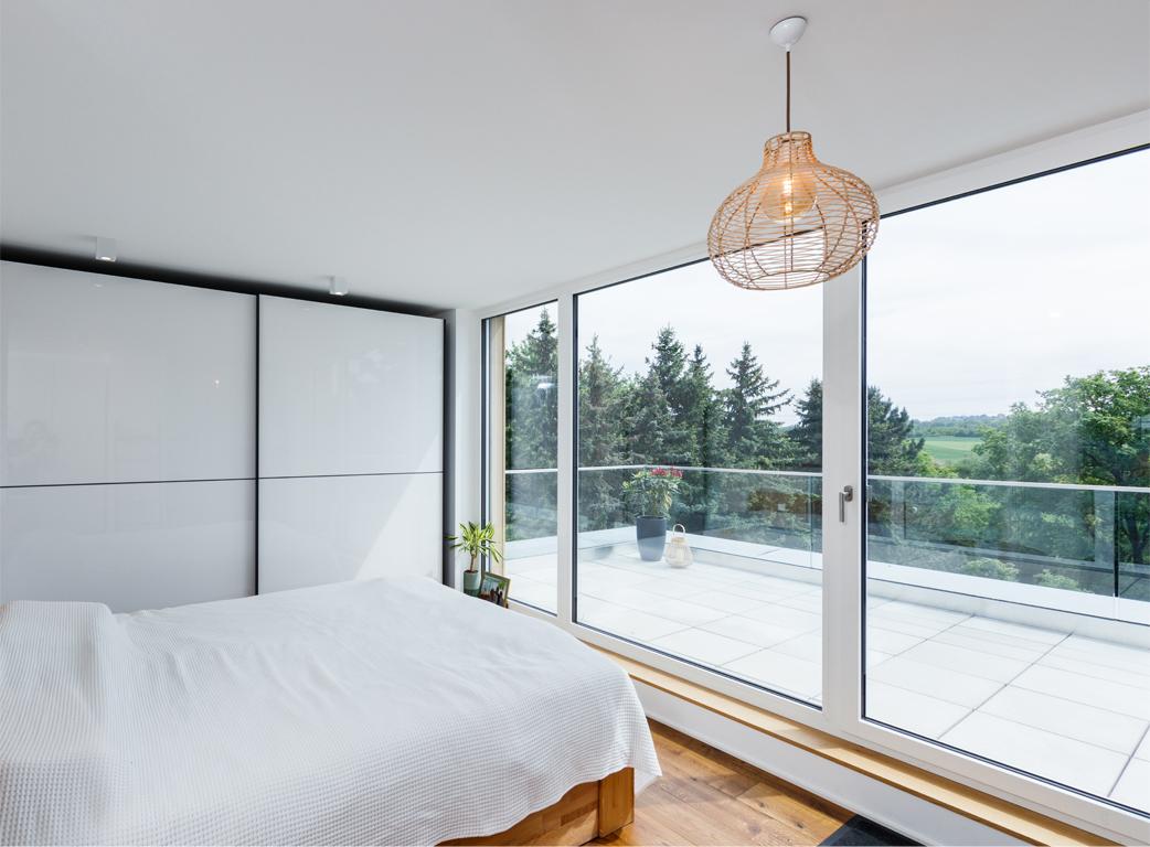Schlafzimmer Staffelgeschoss mit Ausblick